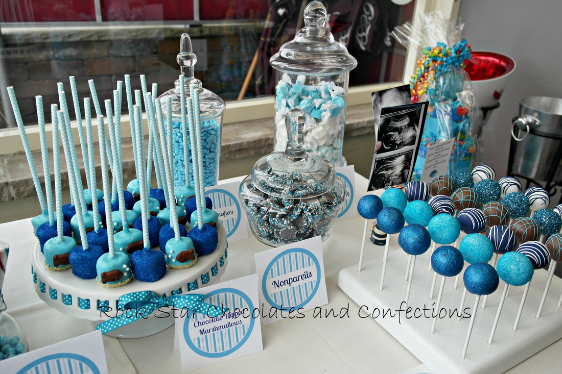 Blue Baby Shower Candy Buffet Part - 24: Ahoy Itu0027s A Boy Baby Shower Dessert And Candy Buffet